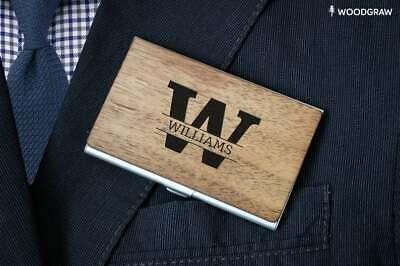 Monogram - Wooden Business Card Holder Custom Design, Personalized Gift for Dad