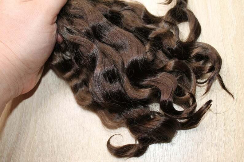 """Doll hair Brown Medium 0.35 oz Mohair locks Angora Goat 5 """" Reborning - Rooting"""