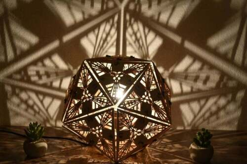 Icosahedron | Geometric Lighting, Wood Desk Lamp, Shadow Lights