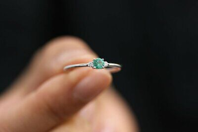 0.4ct Round Green Emerald Engagement Ring Minimalist Trilogy 14k White Gold (White Gold Trilogy Ring)