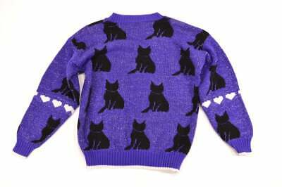 Girls Ugly Sweater (Ugly Sweater Cat Sweater Girls Large Womens XXS Purple 1980s 80s Costume)