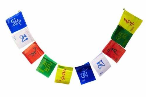 Om Mani Padme Hum Prayer Flags 6 realms Cotton Tibetan Handmade Small Size