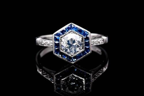 Fine Art Deco Hexagonal Shape Engagement Halo Ring With White CZ & Blue Sapphire