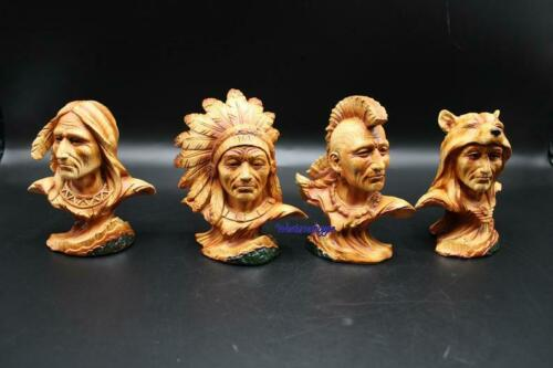Native Indian Faux Wood Carving Figure Statue Set Of Four Hand Painted New