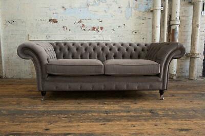 Chesterfield Sofá Terciopelo Textil De Tela Diseño Mueble Elegante 3 Asientos