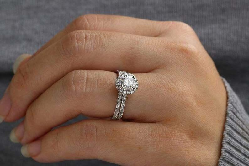 Round Cut White Moissanite Halo Wedding Ring Set 925 Sterling Silver 4 Women 6MM - $101.45