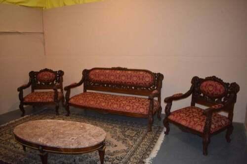 Heavily Carved Ornate Victorian Red Antique Parlor Set Suite Vintage Furniture