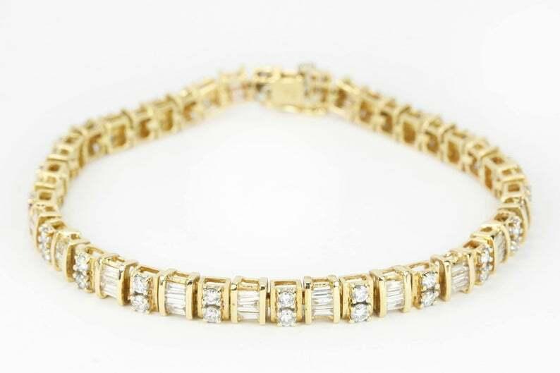 8.50Ct Round & Baguette Diamond Tennis Bracelet Women's 14K Yellow Gold Over