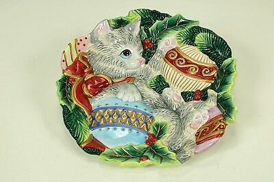 Beautiful Fitz & Floyd Cat Christmas Plate Kitten w/ Ornaments EUC (Fitz And Floyd Christmas Ornaments)