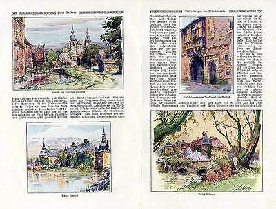 Westfalen Geschichte Wasserburgen im Münsterland gemalt von Paul Geißler 1927