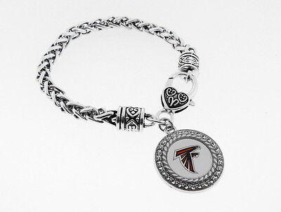 Atlanta Falcons Football Charm  With Antique Silver Plated Lobster Claw Bracelet Enamel Atlanta Falcons Charm