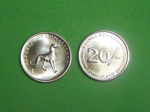 "SOMALILAND  2002  20 SHILLINGS ""GREYHOUND""  KM6 UNCIRCULATED COIN"