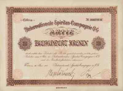 Internationale Spiritus Compagnie AG 1922 Wien Industriealkohol Kuponbogen 200 K