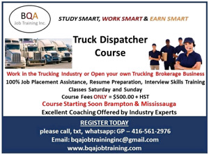 FREE DEMO CLASS OF DISPATCHER 12 TO 1PM SAT & SUN IN BRAMPTON