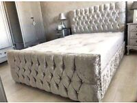 🔥🔥SAME DAY FAST DELIVERY🔥🔥CHESTERFIELD CRUSHED VELVET DOUBLE BED FRAME SILVER, BLACK AND CREAM