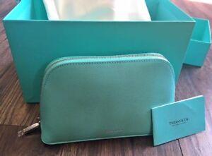 TIFFANYS blue leather makeup pouch bag case purse clutch vintage