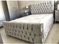 🎆💖🎆GENUINE AND NEW🎆💖🎆DOUBLE CHESTERFIELD BED CRUSHED VELVET FABRIC WITH MATTRESS OPTIONS