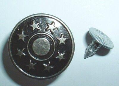 20 Metallknöpfe / Patentknöpfe 17mm altsilber Jeansknöpfe