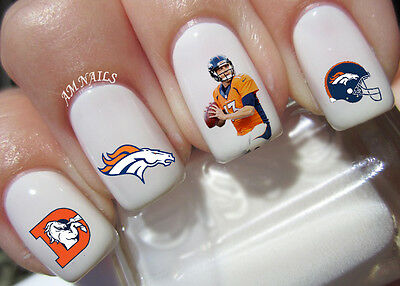 Denver Broncos Nail Art Stickers Transfers Decals Set of 46 - Denver Broncos Nail Decals