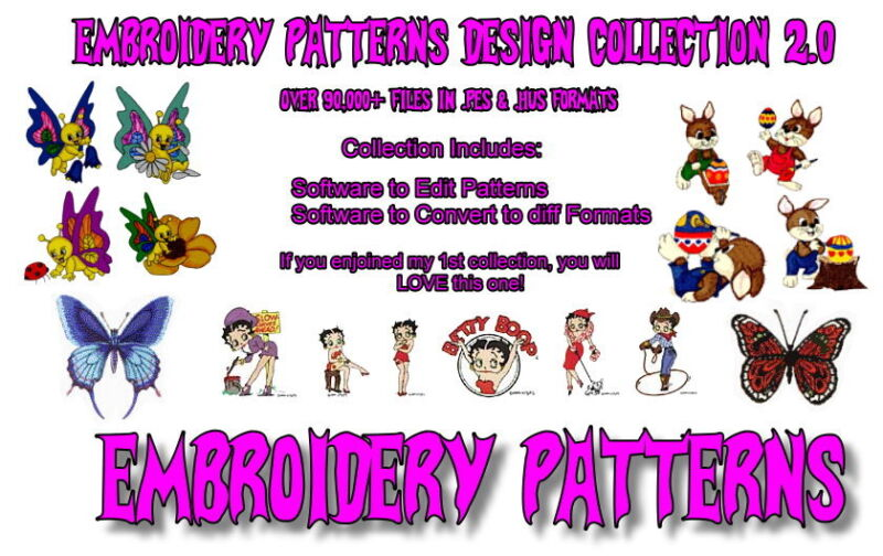 342,000+ EMBROIDERY MACHINE PATTERNS DESIGNS FILES IN .PES & .HUS ON DVD - FREE