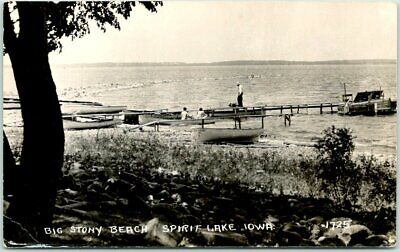"SPIRIT LAKE, Iowa RPPC Photo Postcard ""BIG STONY BEACH"" Boat Landing View 1951"