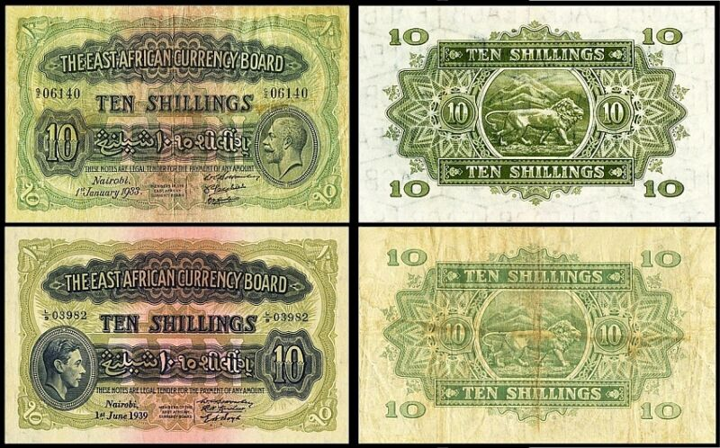 !COPY! 2 EAST AFRICA 10 SHILLINGS 1933, 1939 BANKNOTES !NOT REAL!
