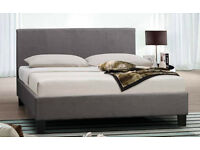 """NEW GREY """"GENEVA"""" 4FT6 DOUBLE FABRIC BED FRAME ONLY"""