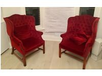 Pair of stunning deep buttoned high wing back Georgian style H frame vintage/antique