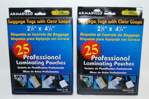 50 Clear LUGGAGE Tags with LOOPS 5 Mil Laminated - Vol. Discount