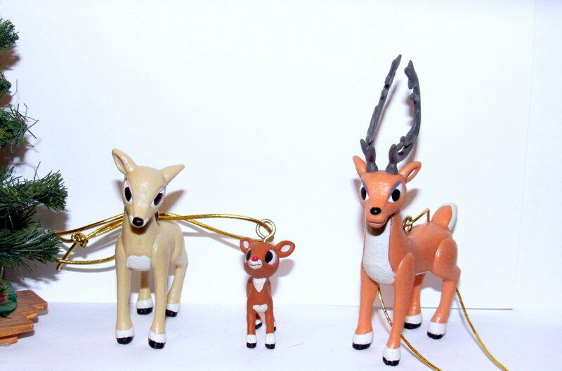 Rudolph the Red-Nosed Reindeer Mr. Mrs. Donner and Baby Rudolph Ornaments