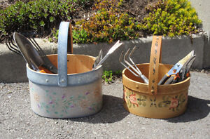 Hand Painted Wood Baskets - Storage of Tools / Flower Displays