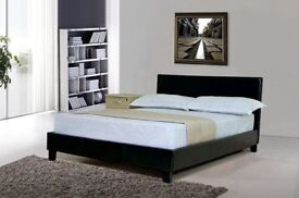 MARCH SALE NOW ON! Brand New Double / King Leather Bed and 11 inches thick Super Orthopedic Mattress