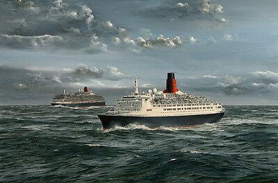 """Queen Victoria QE2 Cunard Ocean Liner Cruise ship Painting Art Print - 14"""" print"""
