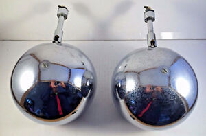 Pair of Vintage Chromed Globe Eyeball Light Fixtures 5,5''