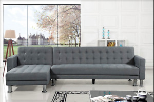 Faux Leather or Fabric Sleeper Sofa With Chaise – ATTALENS