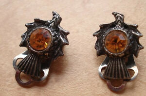 Vintage 1950s Scottish Thistle Silver Tone Orange Stone Clip