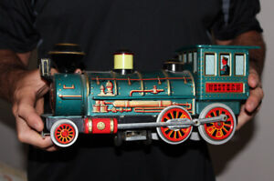 Old Toy Western Train Battery Op.  Vintage Japan Tin WORKS