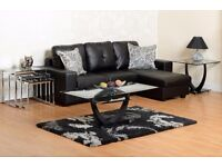Large Black Corner Leather Sofa with detachable footstool - FREE UK DELIVERY