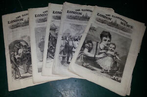 LOT OF 5 issues c1870s ANTIQUE LONDON NEWS / SCARCE