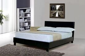 FLAT 30% OFF BRAND New Double & King Italian LEATHER Low Bed Frame in Black & Brown