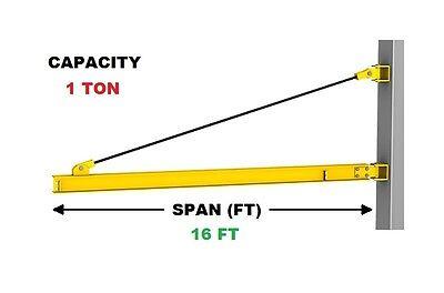 Gorbel Wall Bracket Jib Crane - 1 Ton Capacity Span 16 Ft