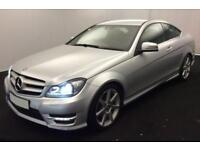 2015 SILVER MERCEDES C220 2.1 CDI AMG SPORT EDITION COUPE CAR FINANCE FROM 46 PW
