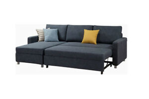 WEEKEND SALE –Fabric Sectional L Shape Sofa Bed with storage