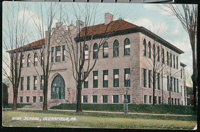 Clearfield Pa High School Antique 1910 Postcard Early Old Vtg Town View Pc