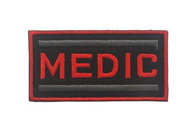 MEDIC Paramedic combat Medic EMT Medical Tactical Morale Hook Patch Gray Red