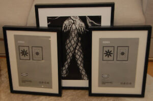 IKEA 3 picture frames & print