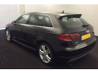 2015 BLACK AUDI A3 SPORTBACK 1.4 TFSI 150 S LINE PETROL 5DR CAR FINANCE FR 62 PW