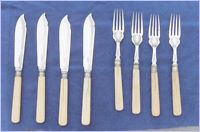 Set of 8 Vintage  Silverplated Fish Knives and Forks
