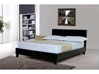 -Black & Brown-ITALIAN FAUX LEATHER bed BRAND NEW DOUBLE AND KING BED WITH 9INCH DEEP QUILT MATTRESS