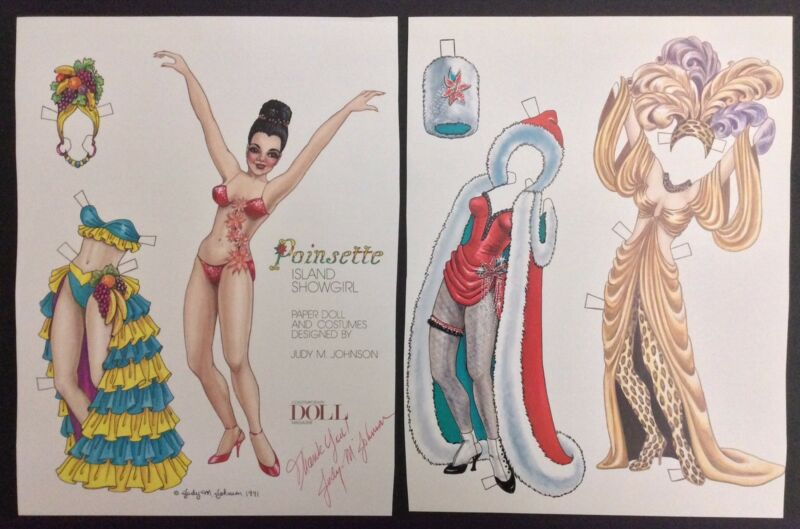 Poinsette Island Showgirl Mag. Paper Doll By Judy Johnson, 1991,Signed by Artist